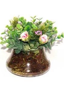 Vaso De Vidro Arranjo De Flores Artifical Rosa Médio Decorativo - Bruxelas
