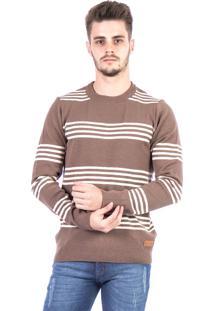 Blusa Tricot Carlan Decote Redondo Als Bege