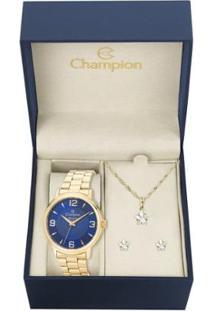 Kit Relógio Champion Elegance Cn26126K Com Colar E Brincos Feminino - Feminino-Dourado