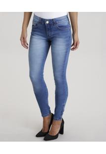 2493a4760 ... Calça Jeans Feminina Super Skinny Com Zíper Na Barra Azul Claro