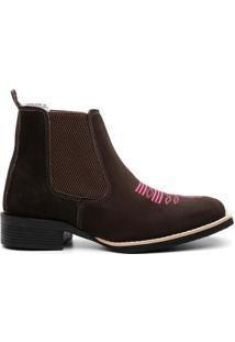Bota Texana Valente Boots Cano Curto Bordada Feminina - Feminino-Marrom