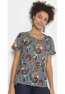 Camiseta Cantão Vichy Floral Feminina - Feminino-Preto+Branco