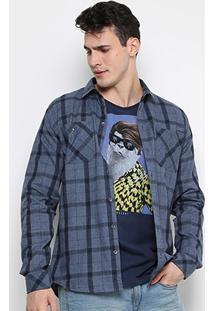 Camisa Xadrez Colcci Slim Fit Indigo Masculina - Masculino-Jeans