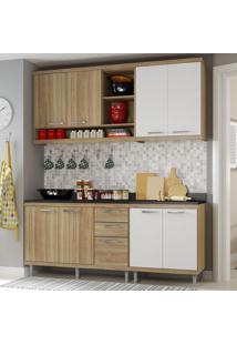 Cozinha Compacta 8 Portas Sicília Com Tampo 5819 Branco/Argila - Multimóveis
