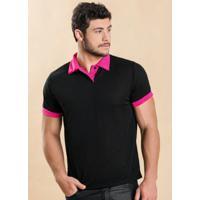 Camisa Pólo Curta Pink masculina  09a0b561e3477