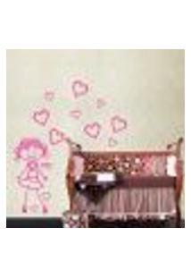 Adesivo De Parede Cartelas Menininha Com Corações - Eg 125X55Cm