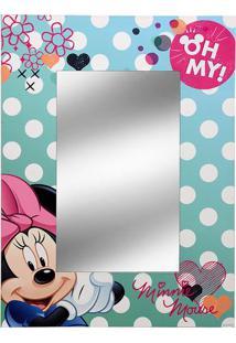 Espelho Minnieâ®- Espelhado & Verde ÁGua- 40X30X1Cm
