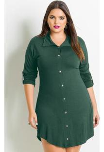 Vestido Chemisier Plus Size Verde
