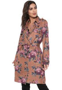 Casaco Sobretudo Lily Fashion Suede Floral Caramelo