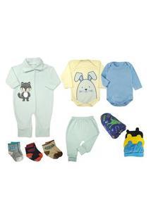 Kit Bebê 11 Pças Mini Enxoval Inverno Azul