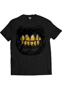 Camiseta Manga Curta Skull Clothing Dente Dourado Preto