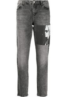 Karl Lagerfeld Calça Jeans Reta Karl Legend - Cinza