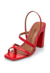 Sandalia Salto Alto Tiras Finas Vermelho