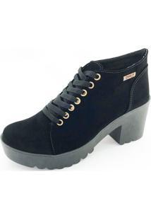 Bota Coturno Quality Shoes Feminina Camurça Preta 34