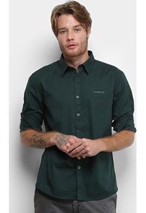 Camisa Ellus 2Nd Floor Manga Longa Tricoline Slim Masculina - Masculino-Verde Escuro