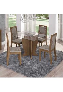 Conjunto De Mesa Luana Com 4 Cadeiras Livia Savana E Café
