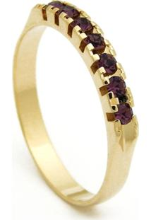 Meia Aliança Horus Import Pedras Violeta Ametista Banhada Ouro Amarelo 18 K - 1010001