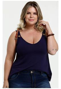 Blusa Feminina Botão Plus Size Alças Finas Marisa
