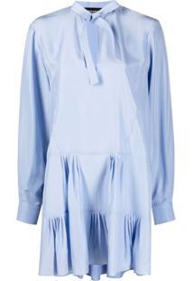Rochas Vestido Godê Com Amarração Na Gola - Azul