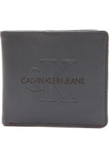 Carteira Couro Calvin Klein Logo Cinza