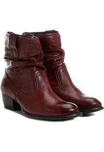 Bota Slouch Shoestock Couro Cano Curto Feminina - Feminino-Vinho