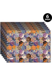 Jogo Americano Mdecore Folhas 40X28 Cm Laranja 6Pçs