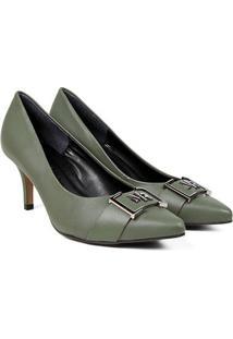 Scarpin Couro Morena Rosa Salto Médio Detalhe Metal - Feminino-Verde Escuro