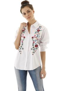 Camisa Aha Bordado Off- White