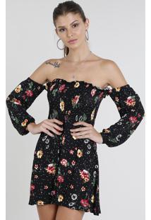 76344a99f CEA. Vestido Feminino Curto Ombro A Ombro Estampado Floral Manga Longa Preto
