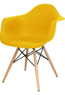 Cadeira Eames Com Braco Base Madeira Amarelo Fosco - 24500 - Sun House