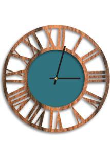 Relógio De Parede Decorativo Premium Vazado Números Romanos Amadeirado Com Detalhe Ágata Médio