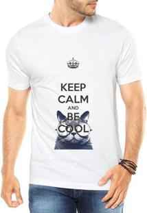 Camiseta Criativa Urbana Keep Calm And Be Cool Gato - Masculino-Branco