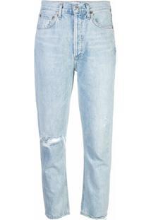 Agolde Calça Jeans Reta Destroyed - Azul