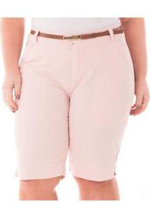 Bermuda Jeans Casual De Alfaiataria Plus Size Feminina - Feminino-Rosa