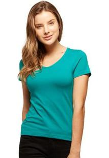 Camiseta Basicamente Babylook Gola V Feminina - Feminino