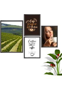 Kit Conjunto 4 Quadro Oppen House S Frases Com Café Coffe Sweet Lojas Cafeteria Xícaras Grãos Moldura Preta Decorativo Interiores Sem Vidro - Kanui