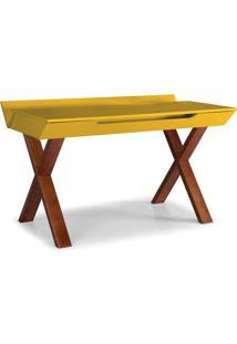 Escrivaninha Studio Cor Cacau Com Amarelo - 28939 - Sun House