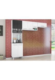 Cozinha Com 8 Portas Isadora Branco/Preto - Lc Móveis