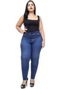 Calça Jeans Cambos Plus Size Skinny Doracy Feminina - Feminino-Azul