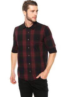Camisa Reserva Regular Fit Xadrez Preta/Vinho