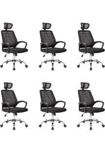 Conjunto Com 6 Cadeiras De Escritório Diretor Giratórias Light Preto