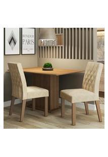 Conjunto Sala De Jantar Madesa Lia Mesa Tampo De Madeira Com 2 Cadeiras Marrom