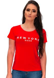 Camiseta Miss Glamour Store New York Vermelha - Kanui
