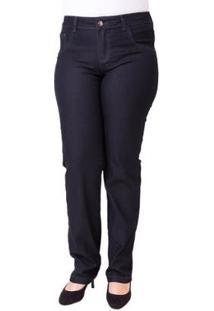 Calça Jeans Confidencial Seven Blue Reta Plus Size Feminina - Feminino-Marinho