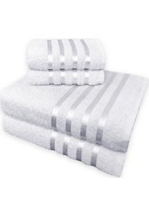 Jogo De Toalha 4 Peã§As Kit De Toalhas 2 Banho 2 Rosto Jogo De Banho Branca - Branco - Dafiti