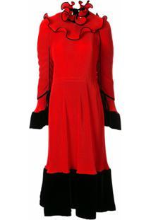 Tory Burch Vestido Plissado Com Babados - Vermelho