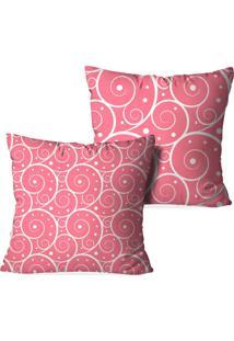 Kit 2 Capas Para Almofadas Decorativas Love Decor Abstrato Rosa