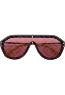 Fendi Eyewear Óculos De Sol Aviador - Metálico