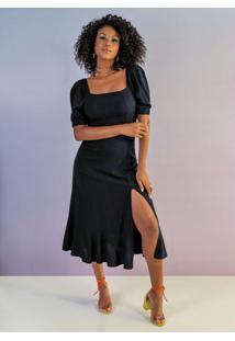 Vestido Midi Com Fenda Preto