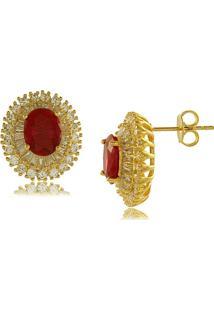 Brinco Oval Com Zircônia Central Vermelha 3Rs Semijoias Dourado